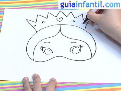 Antifaz de princesa para dibujar y pintar. Paso 4.