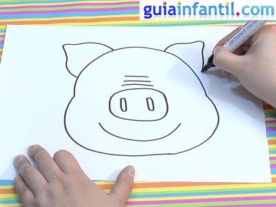 Dibujo de una careta de cerdo. Paso 2.