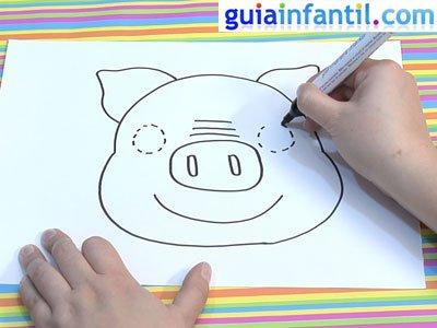 Dibujo de una careta de cerdo. Paso 3.