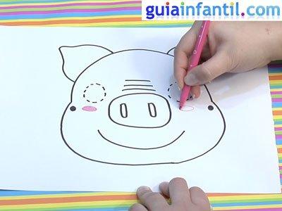 Dibujo de una careta de cerdo. Paso 4.