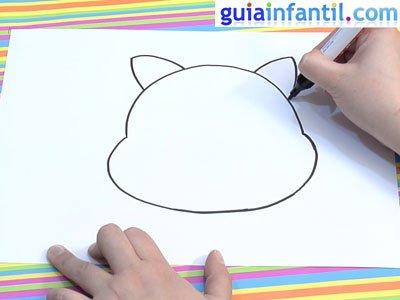Dibujo de un gato para colorear. Paso 1.