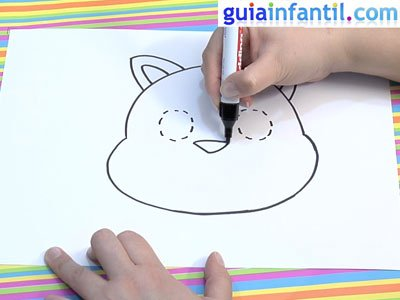 Dibujo de un gato para colorear. Paso 2.