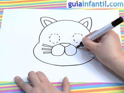 Dibujo de un gato para colorear. Paso 3.