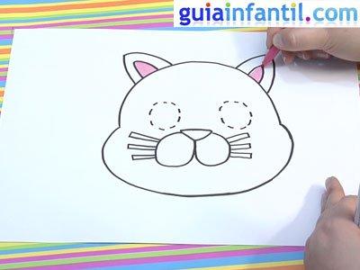 Dibujo de un gato para colorear. Paso 4.
