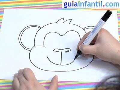 Careta de mono para colorear. Paso 3.