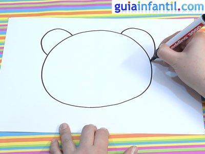 Máscara de oso panda para dibujar. Paso 1.