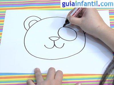 Máscara de oso panda para dibujar. Paso 2.