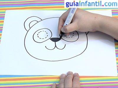 Máscara de oso panda para dibujar. Paso 3.