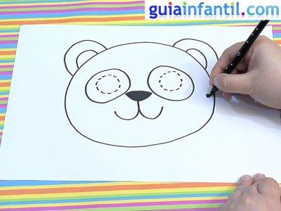 Máscara de oso panda para dibujar. Paso 4.
