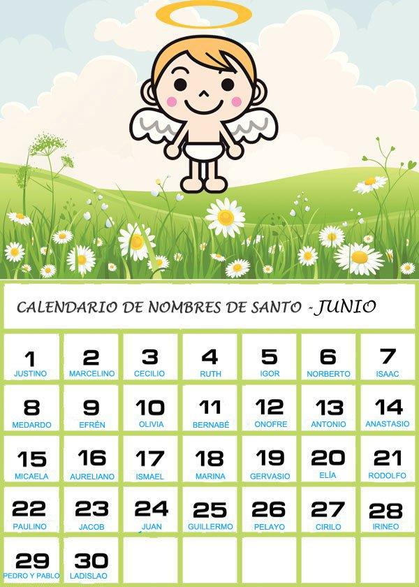 Calendario De Los Nombres De Santos De Junio