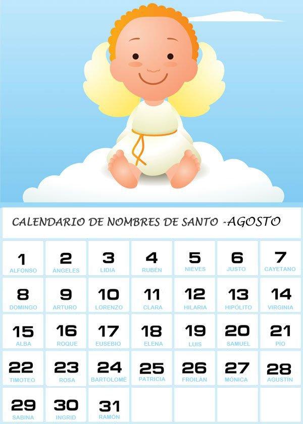 Calendario de los nombres de santos del mes de Agosto