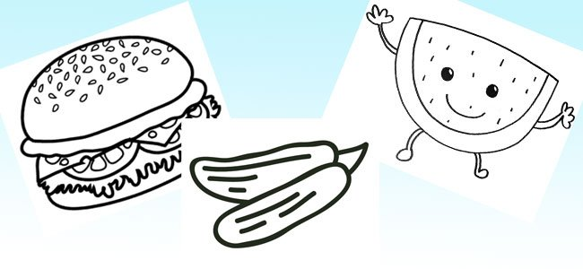 Dibujos de comida para imprimir y colorear