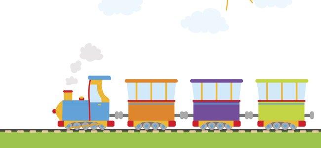 Allí viene el tren, cuento para enseñar las vocales.