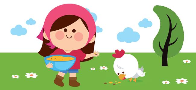 la mujer y la gallina