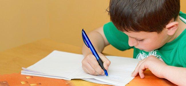 Niño escribe