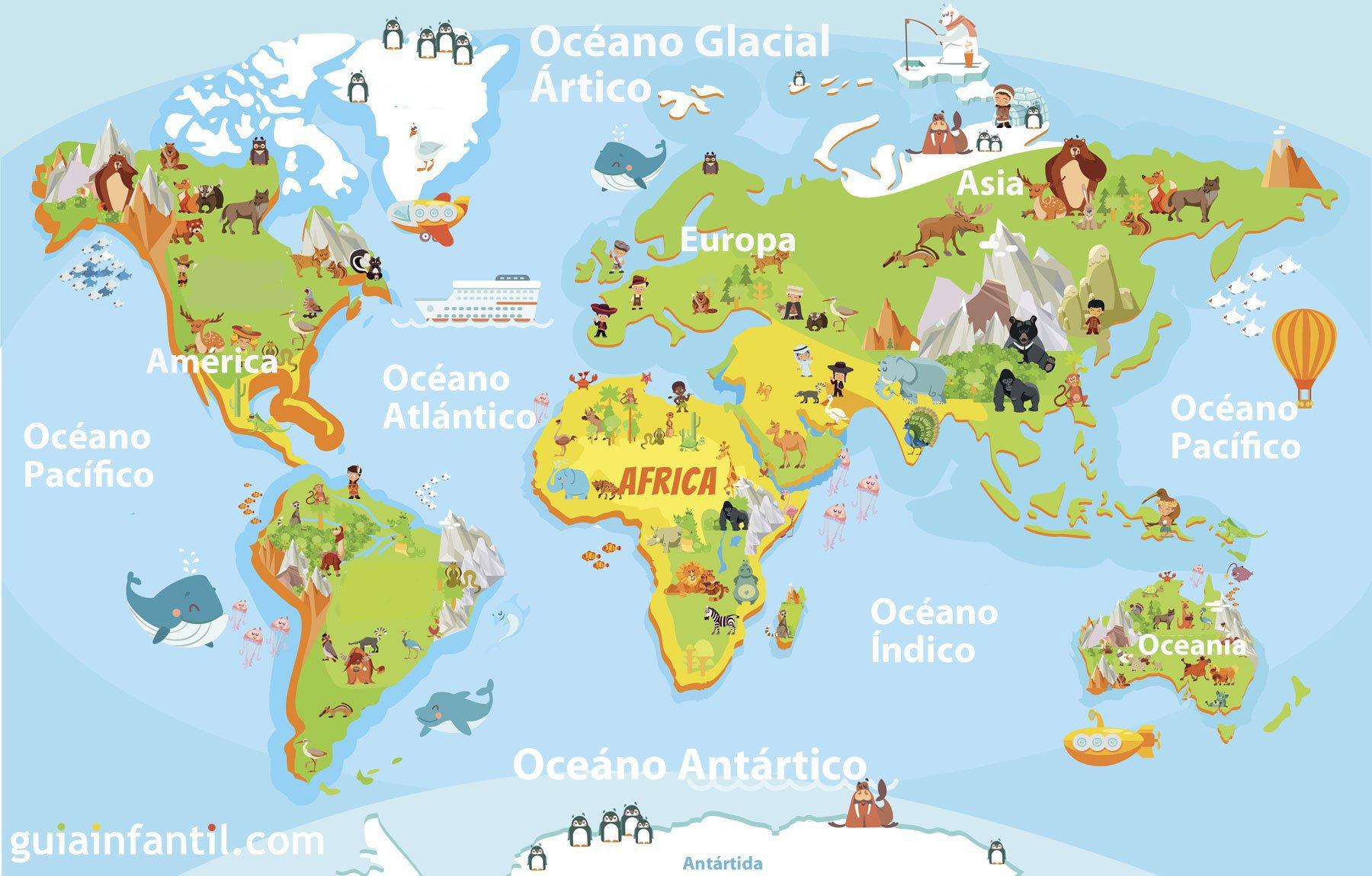 Pintar NiÑos Del Mundo: Mapamundi Para Niños De Primaria