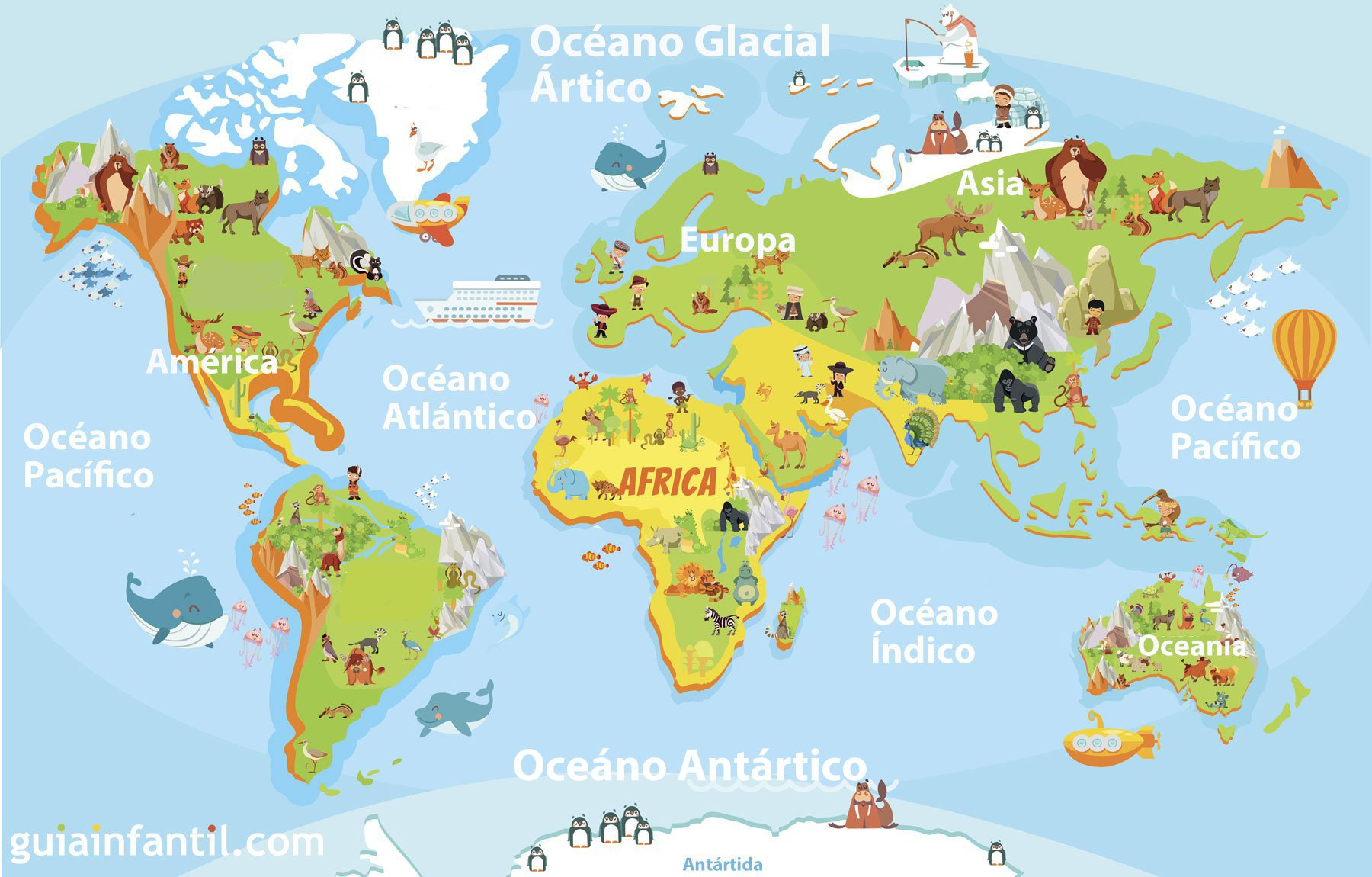 Niños De Paises Para Pintar: Mapamundi Para Niños De Primaria