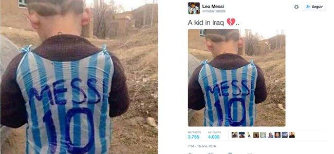 Niño de Irak con la camiseta de Messi