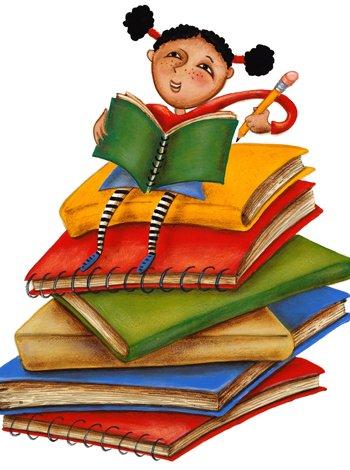niña encima de libros