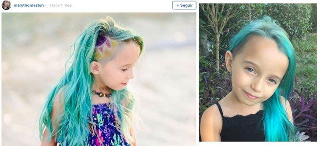 Niña con el pelo teñido