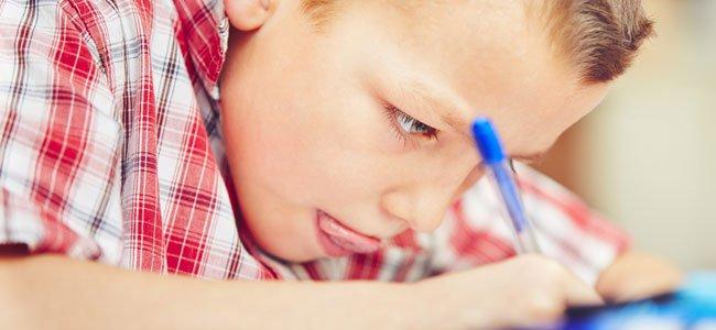 Niño hace deberes