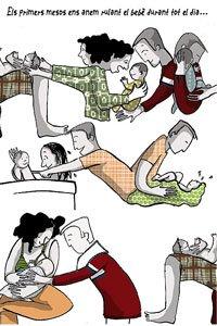 Padres primerizos. Dibujo de Glòria Vives