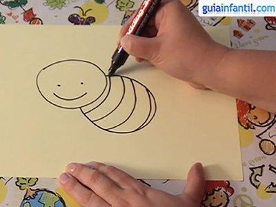 Dibujar una abeja. Paso 2.