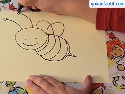 Dibujar una abeja. Paso 3.