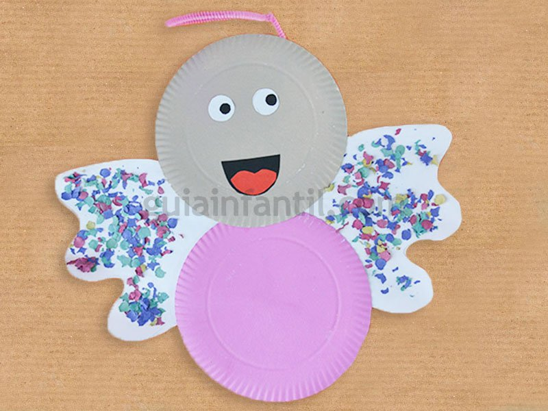 Ngel de navidad con platos de cart n manualidades navide as - Manualidades navidenas para ninos pequenos ...