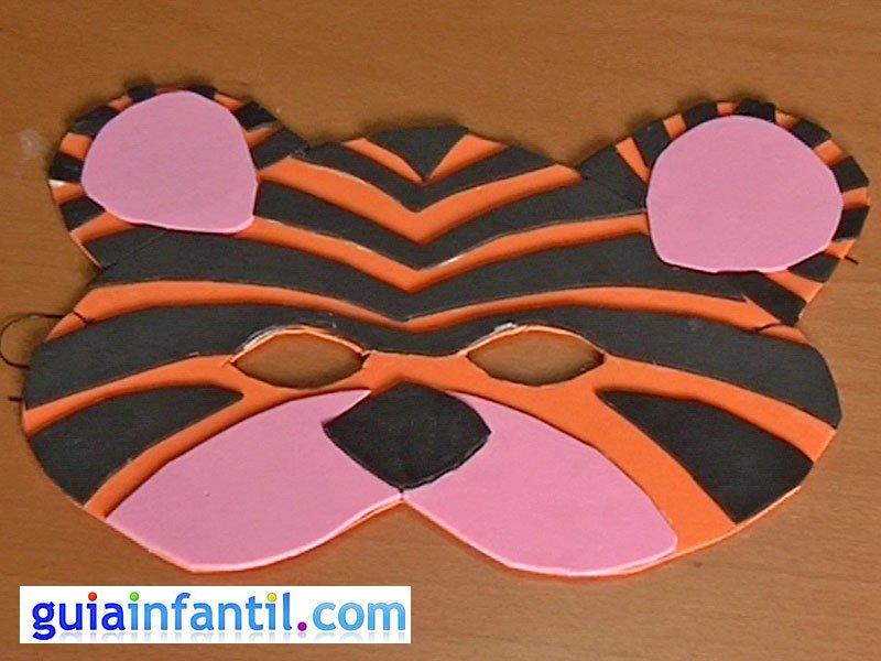 Antifaz de tigre. Manualidades de Carnaval