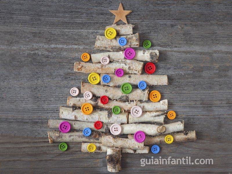 Arbol De Navidad Con Ramas Y Botones Para Ninos - Manualidad-arbol-navidad