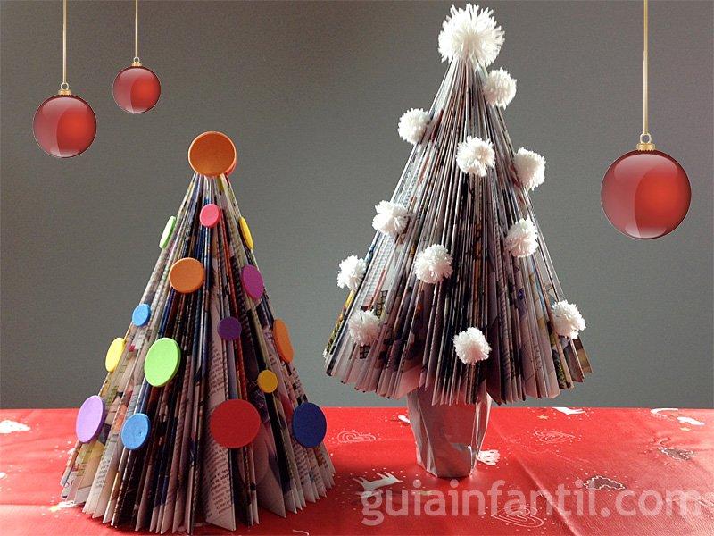 Rbol de navidad con una revista manualidades navide as - Como hacer manualidades navidenas para ninos ...