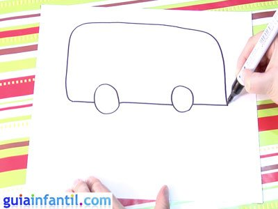 Dibujo de un autobús. Paso 2.