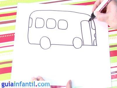 Dibujo de un autobús. Paso 4.