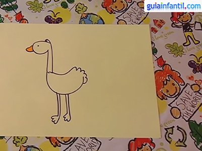 Dibujar una avestruz. Paso 4.