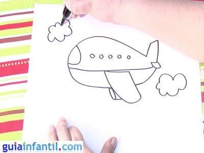 Dibujo de un avión. Paso 4.