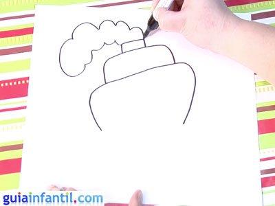 Dibujo de un barco. Paso 2.