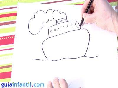 Dibujo de un barco. Paso 3.