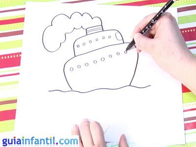 Dibujo de un barco. Paso 4.