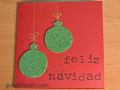Postales de navidad bolas con purpurina - Tarjetas de navidad faciles ...