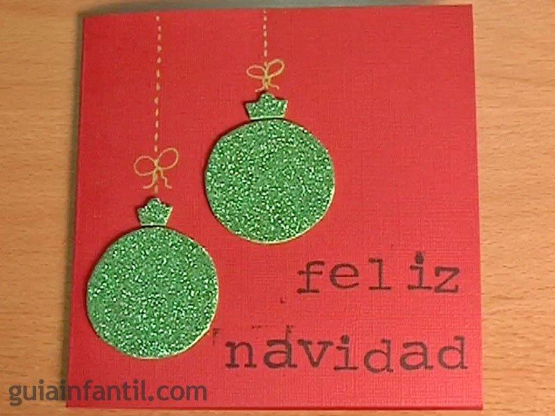 Postales de navidad bolas con purpurina - Tarjeta de navidad manualidades ...