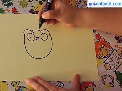 Dibujar un búho. Paso 2.