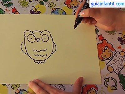 Dibujar un búho. Paso 3.