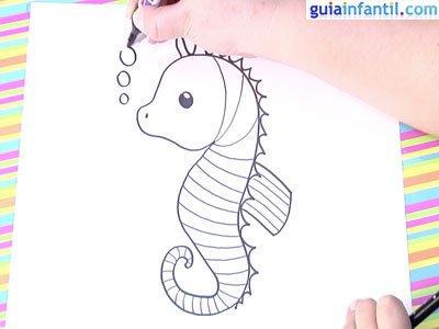 Cómo hacer, paso a paso, un dibujo de un caballito de mar