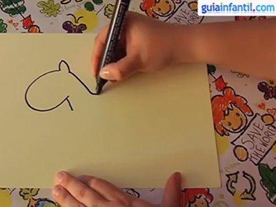 Dibujar un caballo. Paso 1.