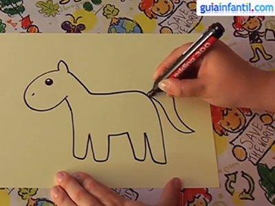 Dibujar un caballo. Paso 3.