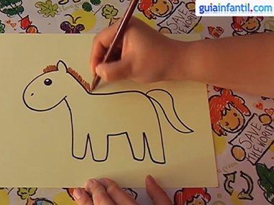 Dibujar un caballo. Paso 4.