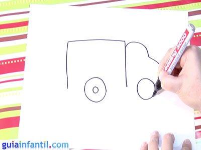 Dibujo de un camión. Paso 3.