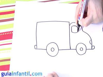 Dibujo de un camión. Paso 4.