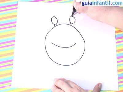 Dibujo de un cangrejo.Paso 2.